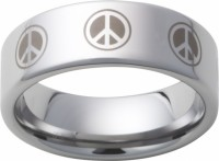 Mens Tungsten Band w Peace Sign Engraved