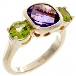ladies ring yellow gold amethyst and peridot.