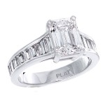 platinum ladies ring with baguette diamonds and center emeral cut diamond